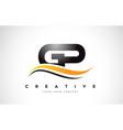 gp g p swoosh letter logo design with modern vector image vector image