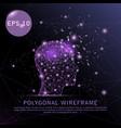 head with brain purple background futuristic wire vector image