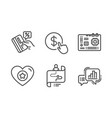 heart motherboard and journey path icons set vector image vector image