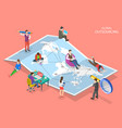 isometric flat concept global vector image vector image