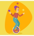 Juggler man on retro old unicycle cartoon vector image vector image