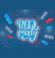 july 4th bbq party lettering invitation vector image vector image