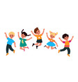 kids jumping happy smiling children play and vector image vector image