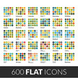 large icons set 600 flat color pictogram vector image