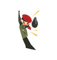 military man throwing a grenade soldier character vector image