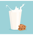milk splash in the glass and cookie vector image