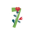 number 7 in flowers and plants number in vector image vector image