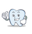 okay tooth character cartoon style vector image vector image