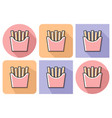 outlined icon of french fries with parallel and vector image vector image