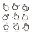 Pixel hand cursors collection in perspective vector image vector image