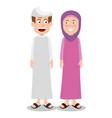 ramadan kareem card with islamic couple characters vector image