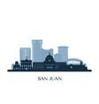 san juan puerto rico skyline monochrome vector image vector image