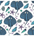 sea seamless stingray pattern vector image vector image