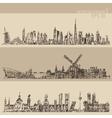 Set Dubai Madrid Amsterdam Vintage Engraved Sketch vector image vector image