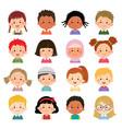 set kids faces avatars children heads vector image