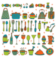 Set of hand drawn kitchen equipments vector image vector image