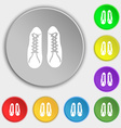 shoes icon sign Symbol on eight flat buttons vector image vector image