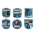 space exploration spaceship and astronaut icons vector image vector image