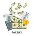 tax day concept stack of money o vector image