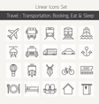 Transportation Booking Line Icons Set vector image vector image