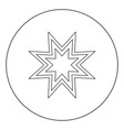 trendy retro star icon black color in circle or vector image