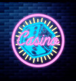 Vintage casino emblem glowing neon