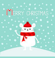 white mouse on snowdrift waving hand merry vector image