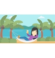 Woman chilling in hammock vector image