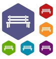 Wooden bench icons set vector image vector image