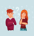 young thinking couple confused teenagers worried vector image vector image