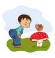 little boy talk with funny bird vector image