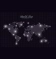world map lights in black mesh silhouette vector image