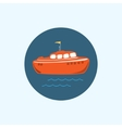 Icon with colored boat vector image