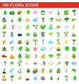 100 flora icons set isometric 3d style vector image vector image