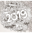 2019 hand drawn doodles contour line vector image vector image