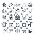 black christmas characters set vector image vector image