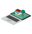 building and trees isometric scene on laptop vector image