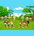 cartoon group of children playing tug vector image vector image