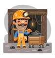 cartoon miner with pickaxe in front mine vector image vector image