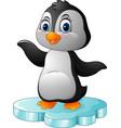 cartoon penguin standing on floe vector image