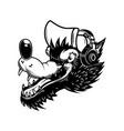 cartoon wolf with headphones design element vector image