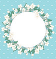 cherry blossom round pattern on blue polka dot vector image vector image