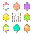 cute cotton candy cartoon set collection vector image