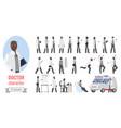 doctor man poses set cartoon elderly male medical vector image vector image