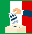 election in italy male hand putting voting paper vector image