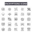encryptions line icons for web and mobile design vector image vector image