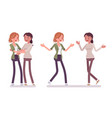 female close friends greeting vector image