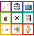 flat icon lifestyle set of watch timer lunch and vector image vector image