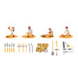 flat set of archaeologists and tools vector image vector image