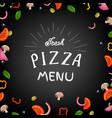 fresh pizza menu vector image vector image
